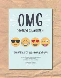 Printable Emoji Birthday Invitation by FrellaDesigns on Etsy