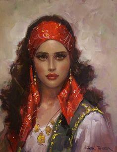 f Gypsy Seer Traveler portrait Santa Sara, L'art Du Portrait, Image Blog, Gypsy Women, Gypsy Girls, Woman Painting, Gypsy Style, Female Art, Character Art
