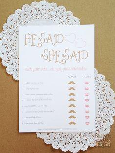 Printable: Bridal Shower Game He Said She Said game card on Etsy, $8.50