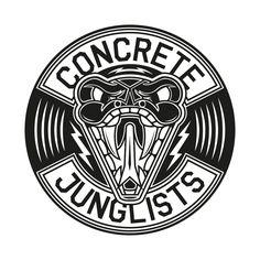 Concrete Junglists Vinyl Sound Of The Underground, Underground Music, Drum, Bass, Concrete, Branding, Graphics, Animal, Logo