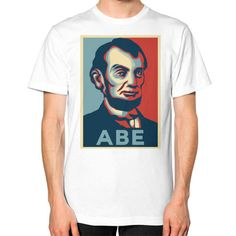 """""""ABE LINCOLN """"HOPE"""" DESIGN"""" UNISEX T-SHIRT (Color : White) - By Gordons Wear"""