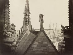 Charles Marville - Angel of Resurrection on the roof of Notre Dame, Paris (the wing was rebuilt), 1860