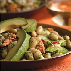 Bean & Salmon Salad with Anchovy-Arugula Dressing Recipe