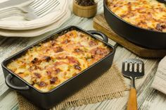 Sajtos, húsos rakott patisszon - Recept | Femina Bacon Cheeseburger Casserole, Ham Casserole, Potatoe Casserole Recipes, Recipes With Ham And Cheese, Ham Recipes, Oven Recipes, Scalloped Potatoes With Bacon, Cheesy Potatoes, Sugar Free Bacon