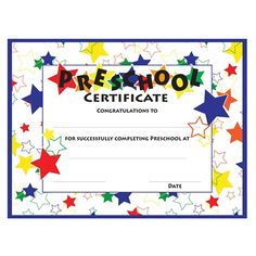 Color Craze Stars Preschool Certificates - Coordinate your star graduation theme with these colorful Preschool Certificates.