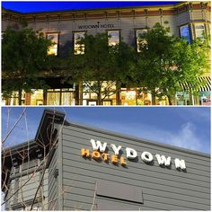 Our new sign is UP! Here's a before & after of the signs. What do you think?  #wydownhotel #transformationtuesday by wydownhotel