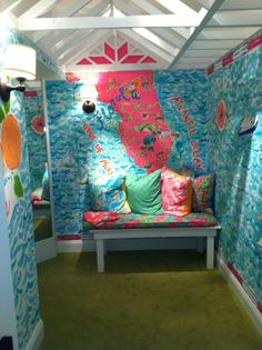 Happy, happy dressing room decor... TGtbT.com loves Lilly Pulitzer's consistent branding.