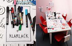 posca for white table - kinda fun Turbulence Deco, Interior Decorating, Interior Design, School Holidays, Business For Kids, Diy Table, Creative, Office Desk, Repurposed
