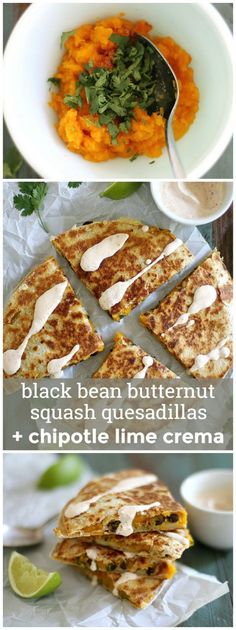 black bean butternut squash quesadillas with chipotle lime crema black ...