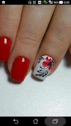 What Christmas manicure to choose for a festive mood - My Nails Flower Nail Designs, Flower Nail Art, Red Nail Designs, May Nails, Pink Nails, Hair And Nails, Fabulous Nails, Gorgeous Nails, Pretty Nails