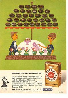 CIRKEL KAFFEE war eine Eigenmarke von Konsum, die unter diesem Namen ab den 60er-Jahren (dieses Motiv stammt von 1963) angeboten wurde. Nachdem Anfang der 80er-Jahre die Eigenproduktionen aufgegeben wurden, verschwand auch CIRKEL KAFFEE aus unserem Straßenbild  #Kaffee #Werbung.