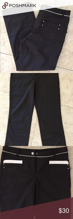 """NVO Golf pants Never worn NVO by Lanctot black golf pants with white detailing. Dry fit material with spandex, cute pants which look great even if you don't play golf. Waist: 32"""" Inseam: 27"""" All offers taken! Pants Trousers"""