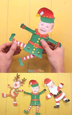 Well lets make this Movable Paper Doll Christmas Photo Craft! Make a Movable Paper Doll Christmas Photo Craft, choose to Elf Yourself, Santa Yourself or Reindeer Yourself. This Christmas craft makes a great keepsake Christmas Paper, Christmas Crafts For Kids, Xmas Crafts, Christmas Photos, Fun Crafts, Paper Crafts, Christmas Cards Handmade Kids, Class Christmas Gifts, Christmas Time