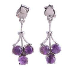 Amethyst dangle earrings, 'Love Trio' - Amethyst dangle earrings (image 2a)