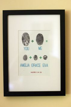 You + me = fingerprint art. This is adorable! **will be doing this so sweet