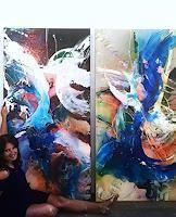 """Ursi Goetz , """"Meine dynymische Farbenwelt"""" Klicken Sie hier, um auf die Grossansicht mit zusätzlichen Informationen zu gelangen. Painting, Painting Abstract, Art Production, Colors, Painting Art, Paintings, Painted Canvas, Drawings"""