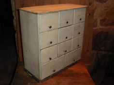 19th C Old White Paint Apothecary 11 Drawer Cupboard Spice Chest Cabinet