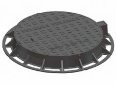 Ductile Iron Cover and Frame Kitemarked to EN 124 Class Closed Keyways Black Bitumen Coated One Piece Solid Top Single Seal Hinged & Locking Ductile Iron, Top Single, Seal, Cover, Frame, Black, Picture Frame, Black People, Frames