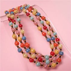 Art Deco Jewelry Antique | Vintage Jewellery Triple Stranded Art Deco Harlequin Glass Necklace ...