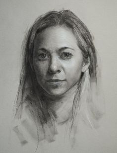 """Ingrid"" by Jeff Hein, Pan pastel, charcoal, and white charcoal on toned paper. Salt Lake City, UT, Hein Academy of Art"