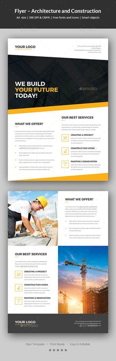 Flyer �20Architecture and Construction Flyer template for many applications. You can easily edit and adapt to your business, as well as architecture, architect, construction, constructor, business solution, corporate, marketing, social media, promotion and much more. A simple and pleasant arrangement of layers will help you to adjust everything. Features:Smart objects A4 size �20297x210
