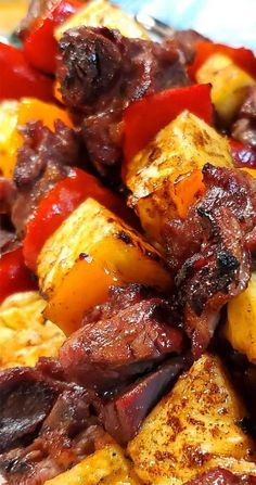 The grilled caramelized pineapple takes this dish over the top. These Brazilian Beef Kabobs with Pineapple and Peppers are very easy and so delish! Marinaded, smoky, and full of flavor goodness. Kabob Recipes, Grilling Recipes, Gourmet Recipes, Beef Recipes, Dinner Recipes, Cooking Recipes, Healthy Recipes, Grilling Tips, Eat Healthy