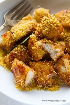 Idli Chaat - Indian idlis, deep fry and tossed in tamarind sauce