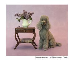 A Silver Standard Poodle sculpture (miniature 1:12 scale) by Kerri Pajutee
