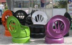 A creative idea for tires to use as a chair set