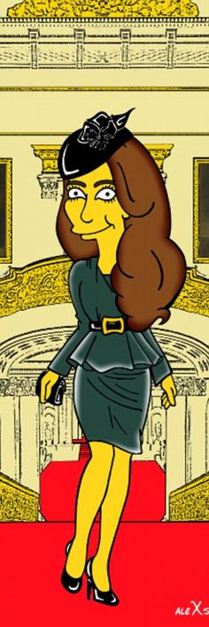 Marge, is that you? An Italian artist and blogger has immortalised the Duchess of Cambridge as you've never seen her before - yellow