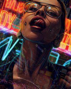 Art by Michael Corbin Arte Cyberpunk, Cyberpunk Games, Cyberpunk Fashion, Art Sketches, Art Drawings, Aztecas Art, Arte Dope, Creation Art, Bild Tattoos