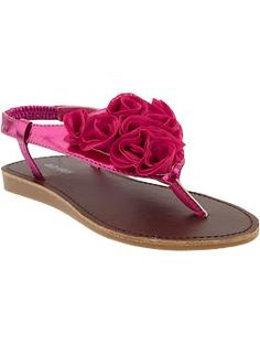 Little Girls Rosette Metallic Sandals