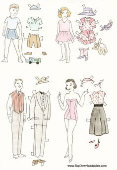 family paper doll  cutouts * 1500 free paper dolls from artist Arielle Gabriel The International Paper Doll Society for Pinterest paper doll pals *
