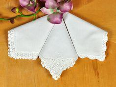Bridal Set of 3 Different Crochet Lace Wedding Handkerchiefs #DBBridalStyle