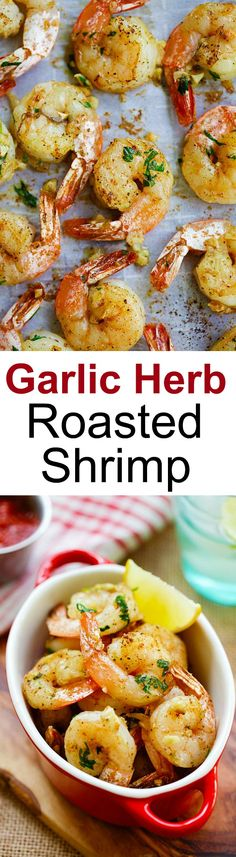 Garlic Herb Roasted Shrimp – easiest and best roasted shrimp with butter, garlic, herb and serve with cocktail sauce. Takes 15 mins | rasamalaysia.com
