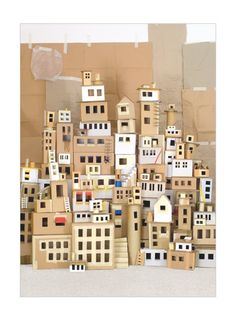 cardboard house buildings city paper houses Land der Reisen by Sebastian Schneider/Human Empire - Kickcan & Conkers