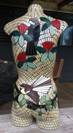 This is the back of a mosaiced torso made from ceramic tiles and background is glass. NZ native birds - Tui and Fantail resting in our native tree - The Pohutakawa which we refer to as our Christmas tree. Mosaic Crafts, Mosaic Art, Mosaic Tiles, Mannequin Art, Mosaic Bathroom, Stone Mosaic, Dress Form, Stepping Stones, Painted Furniture