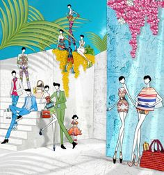 JSK fashion illustration's (SS12 Flower print inspiration) feat pieces from Givenchy, Kratanzou...