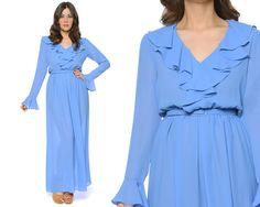 Ruffle Shirt Dress 70s Sheer Maxi Cornflower by GravelGhostVintage, $58.00