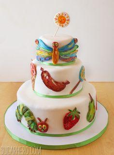***Has tutorial for Marshmallow Fondant*** Very Hungry Caterpillar Cake - SugarHero