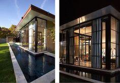house hugging lap pool, east hampton house, Michael Haverland, architect