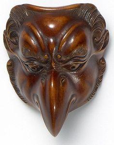A beautiful Tengu Mask in wood