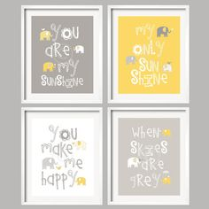 SALE Baby Decor Yellow grey Nursery art you are my by YassisPlace