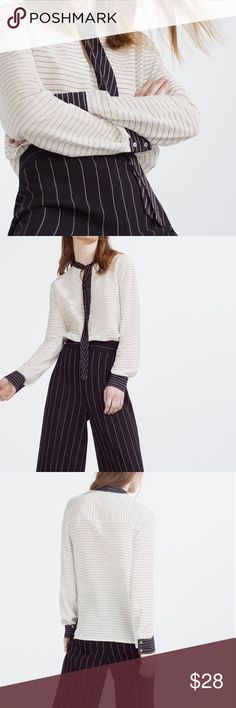 Zara striped blouse with contrast bow brand new! fits more like S Zara Tops Blouses