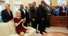 Pictures of kellyanne conway on couch at the Oval Office