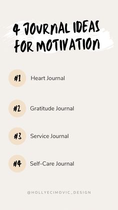 Here are 4 ideas for journals you can use for motivation. Service journal to track community service; Heart journal for stress relief; Gratitude journal for abundance; and Self-Care journal for rejuvenation. #journaling Gratitude Journals, Heart Journal, How To Get Motivated, Good Motivation, Do Homework, How To Gain Confidence, Community Service, Stress Management