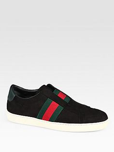 Gucci Laceless Suede & Leather Sneakers