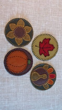 "4 Autumn Mug Rugs (4 3/4"" diameter each) Pattern $6.95 www.ladylibertytradingco.com"