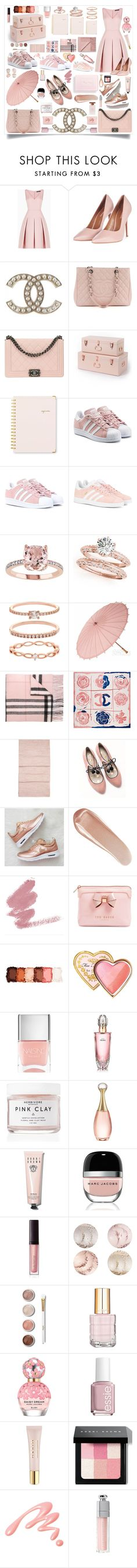 """""""Pastel Pink"""" by bright-designs ❤ liked on Polyvore featuring BCBGMAXAZRIA, Topshop, Chanel, Sugar Paper, adidas Originals, Accessorize, Cultural Intrigue, Burberry, Hobbs and Boden"""