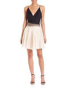 Halston Heritage Ombre Engineered Stripe Dress - Oyster - Black - Size